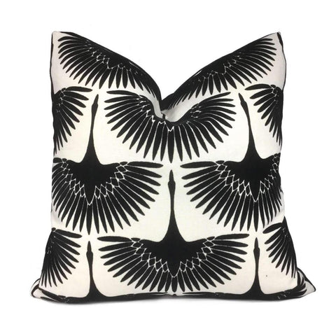 Genevieve Gorder Crane Flock Velvet Onyx Black White Pillow Cover