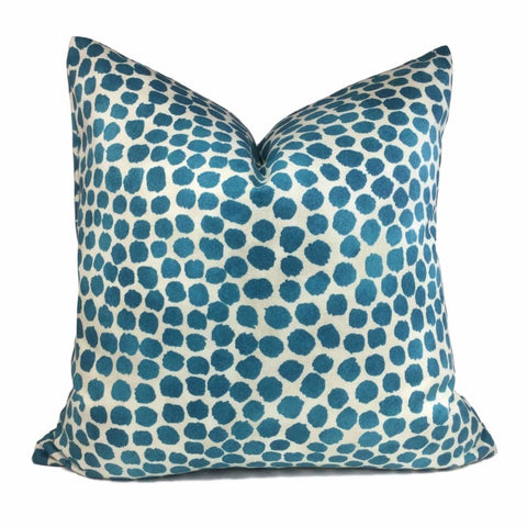 Genevieve Gorder Puffy Dots Teal Green Beige Cotton Print Pillow Cover - Aloriam