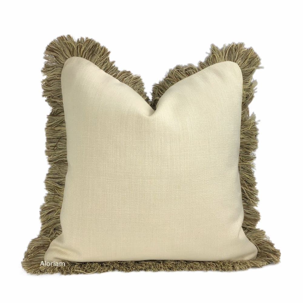 Gentry Ecru Linen blend Pillow Cover with Brush Fringe Trim - Aloriam