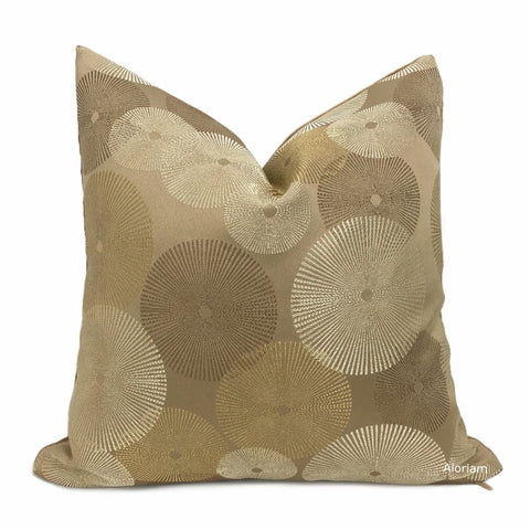 Geometric Circles Bronze Silver Gold Pillow Cover (Kravet 30017.4 Candice Olson Designer Fabric) - Fits 18x18 insert / Pattern on 1 side -