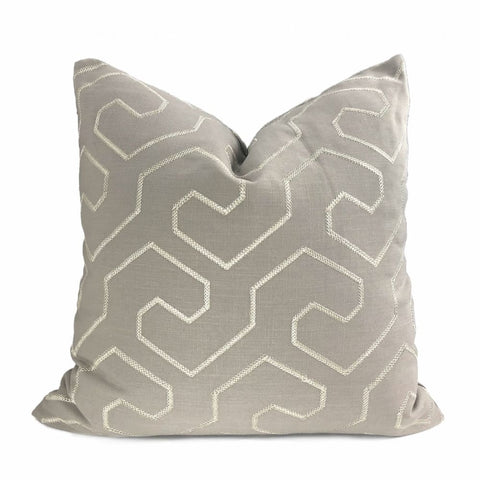 Gibson Stone & Silver Embroidered Geometric Maze Pillow Cover - Aloriam