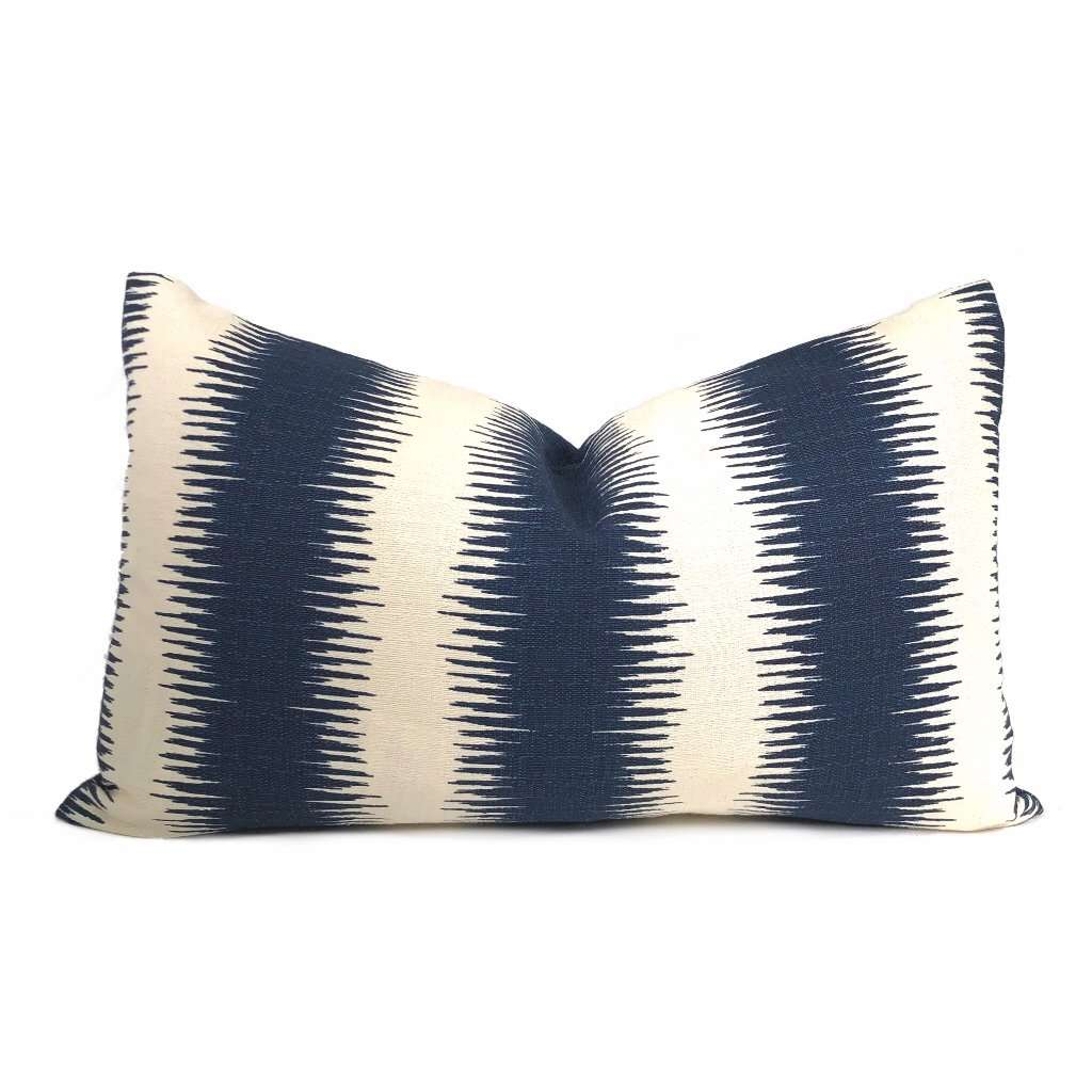 Goji Navy Blue & Cream Tribal Stripe Pillow Cover Cushion Pillow Case Euro Sham 16x16 18x18 20x20 22x22 24x24 26x26 28x28 Lumbar Pillow 12x18 12x20 12x24 14x20 16x26 by Aloriam