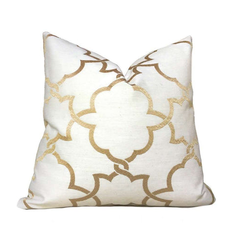Gold & Cream Geometric Scrollwork Embroidered Motif  Pillow Cover