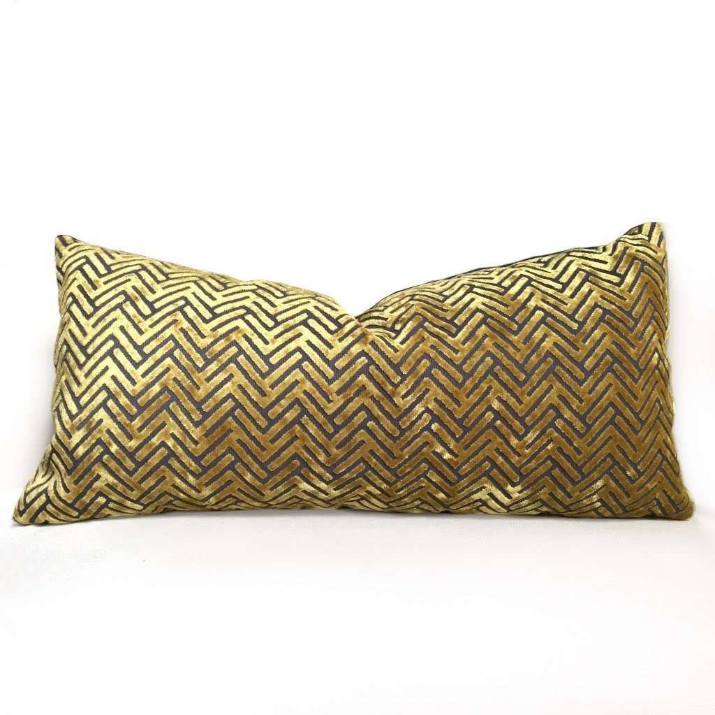 Gold Gray Cut Velvet Geometric Chevron Texture Pillow Cover by Aloriam