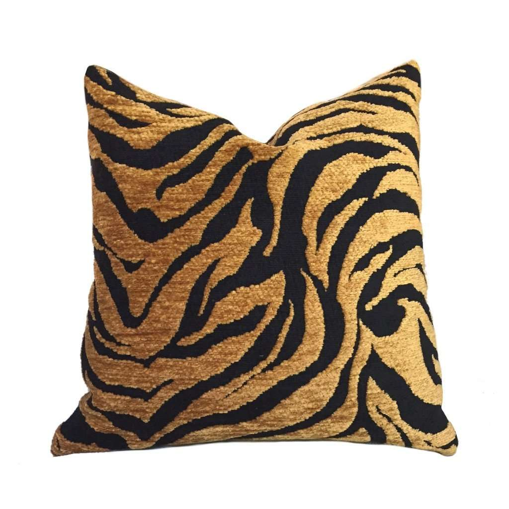 "Gold Tan & Black Abstract Tiger Animal Stripe Pillow Cover, Fits 12x18, 12x24, 14x20, 16x26 16"" 18"" 20"" 22"" 24"" Cushion Inserts"