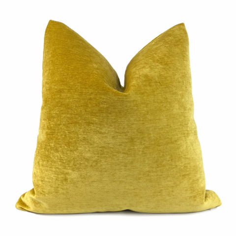 Golden Mustard Yellow Velvet Pillow Cover - Aloriam