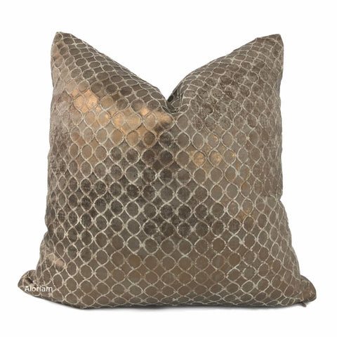 Granada Metallic Copper Bronze Brown Pillow Cover - Aloriam