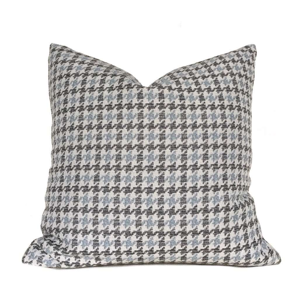 Gray Blue Beige Houndstooth Geometric Pillow Cover