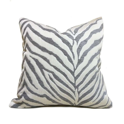 Gray Cream Tiger Zebra Stripes Upholstery Chenille Pillow Cover