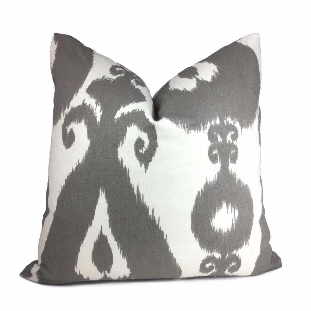 Gray White Large Scale Ikat Ethnic Cotton Print Pillow Cover