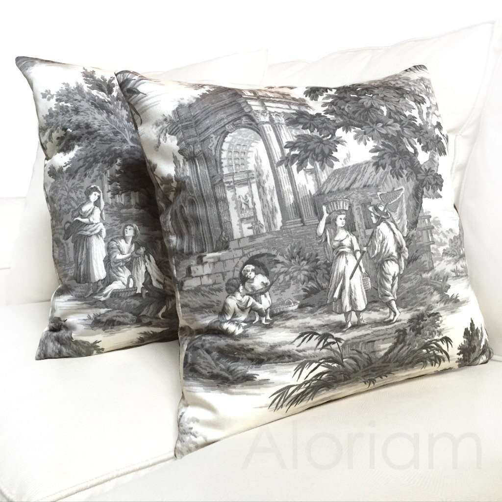 Greek Grand Toile Gray White Pillow by Aloriam