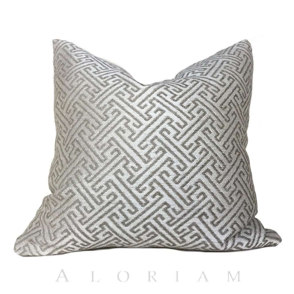 Greek Key Geometric Taupe Brown Beige Upholstery Pillow Cushion Cover