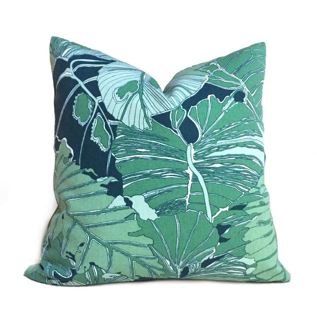 Green Navy Blue Abstract Leaf Botanical Cotton Print Pillow Cover by Aloriam