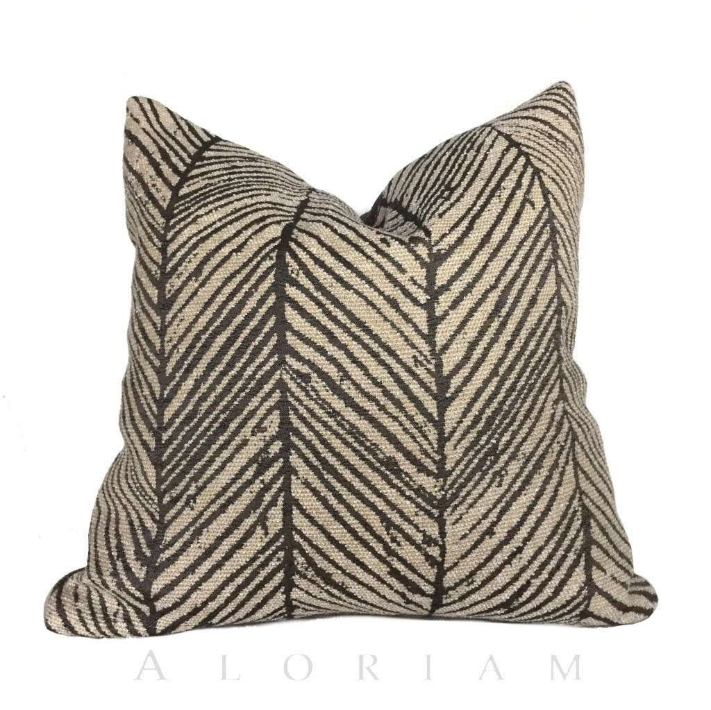 Thomas O'Brien Woodblock Twill Noir Modern Abstract Herringbone Pillow Cushion Cover