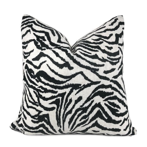 Guillermo Black White Embroidered Zebra Stripe Pillow Cover - Aloriam