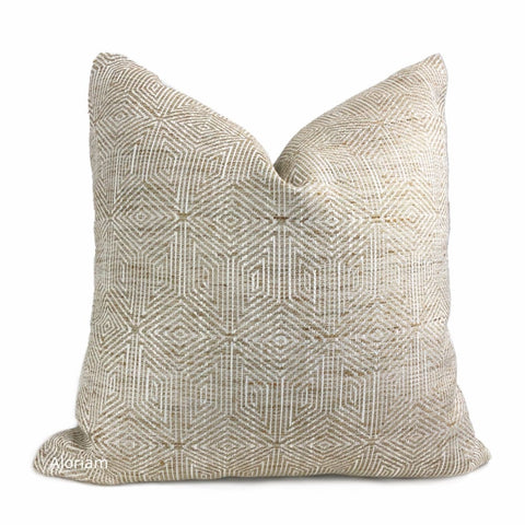 Halston Tan Brown & Cream Geometric Pillow Cover - Aloriam