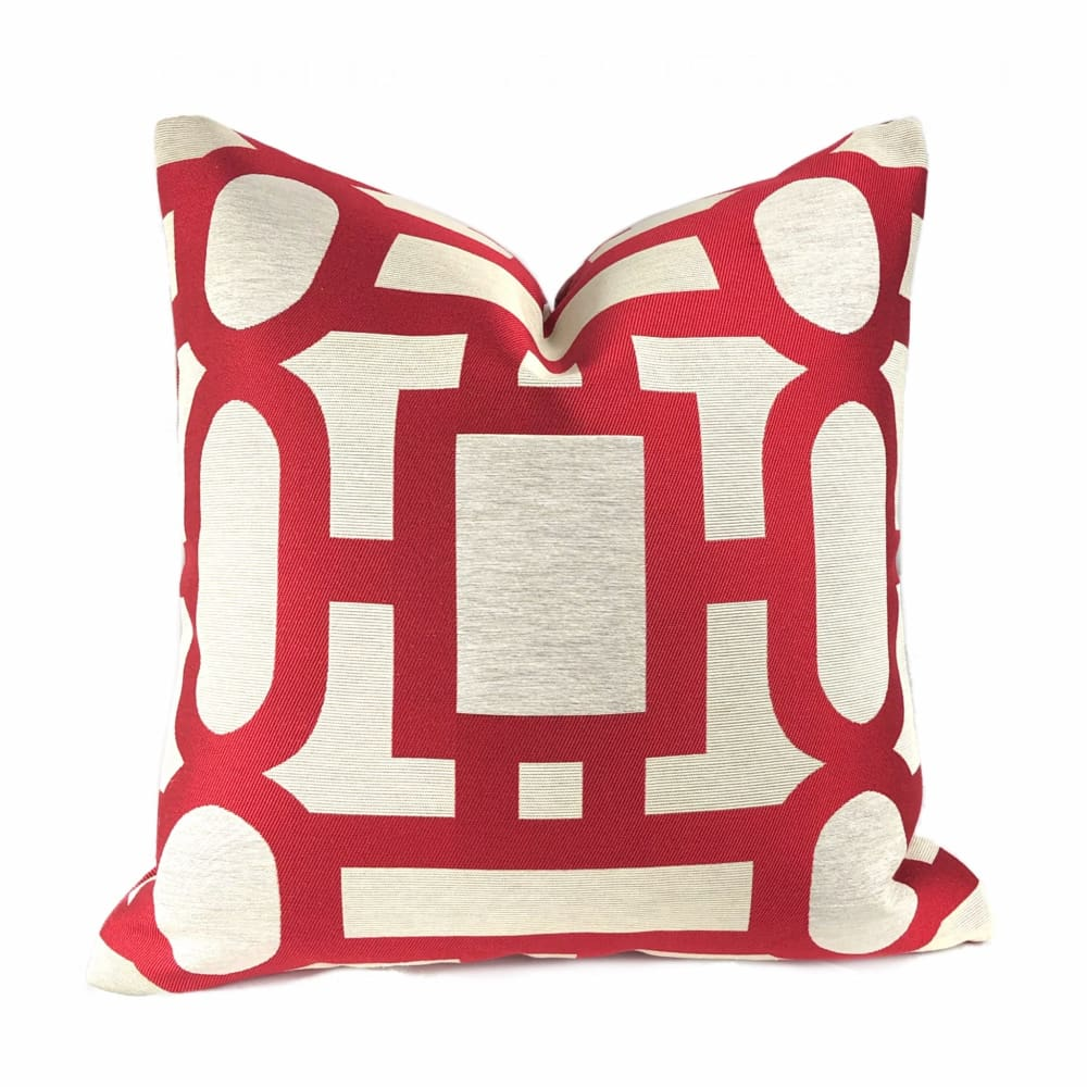 Harlow Lacquer Red Art Deco Geometric Pillow Cover - Aloriam