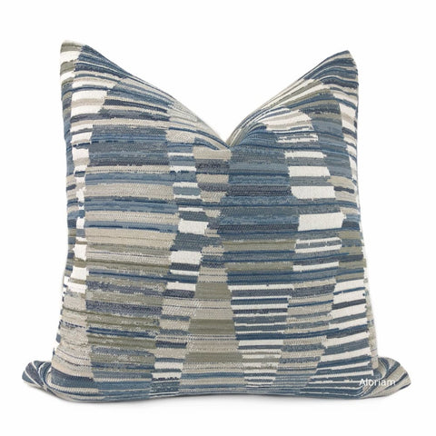 Harris Blue Taupe Cream Broken Stripe Pillow Cover - Aloriam