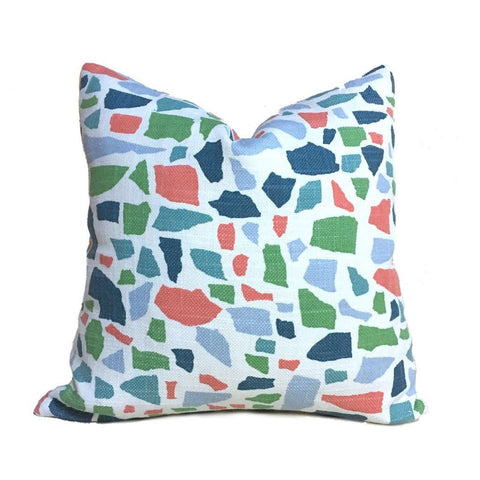 HC Monogram Lulu DK Abstractions Blue Coral Pink Green White Pillow Cover Cushion Pillow Case Euro Sham 16x16 18x18 20x20 22x22 24x24 26x26 28x28 Lumbar Pillow 12x18 12x20 12x24 14x20 16x26 by Aloriam
