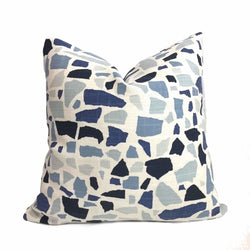 HC Monogram Lulu DK Abstractions Blue White Pillow Cover by Aloriam
