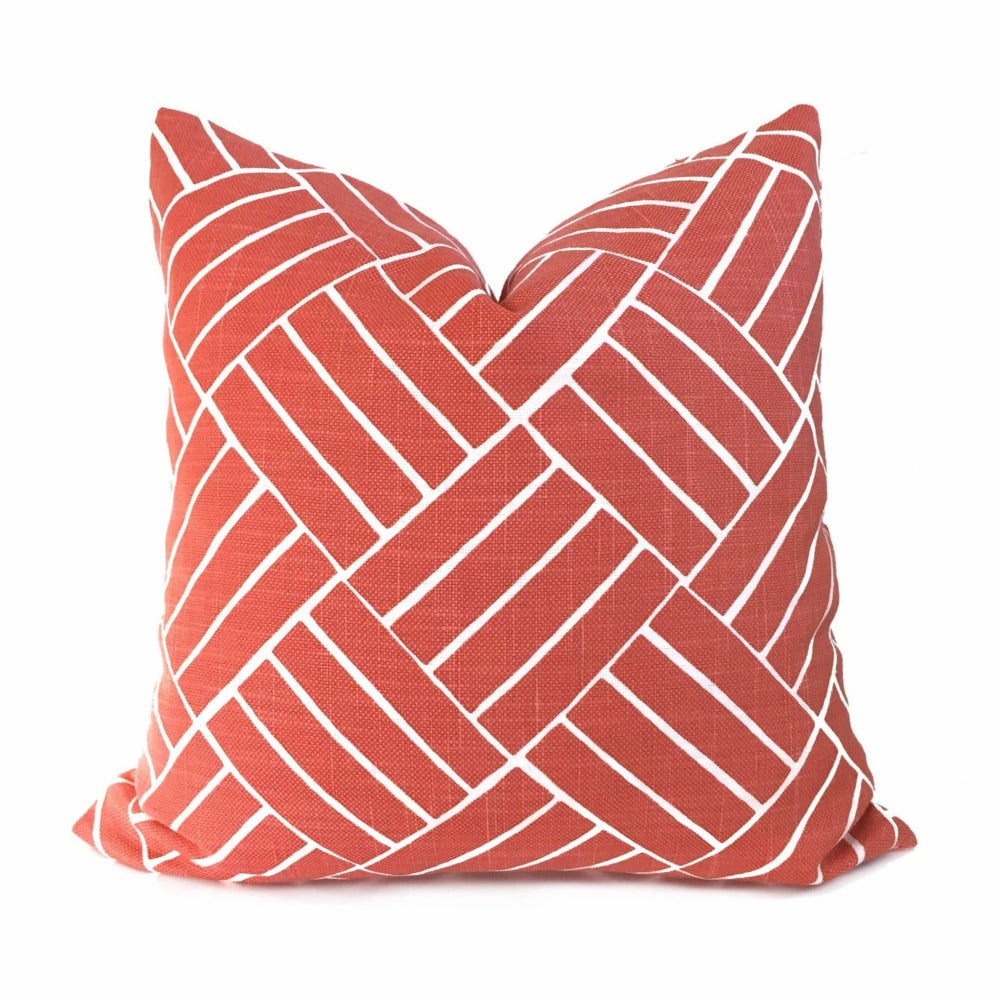 HC Monogram Lulu DK Aurelian Coral Pink White Geometric Pillow Cover Cushion Pillow Case Euro Sham 16x16 18x18 20x20 22x22 24x24 26x26 28x28 Lumbar Pillow 12x18 12x20 12x24 14x20 16x26 by Aloriam