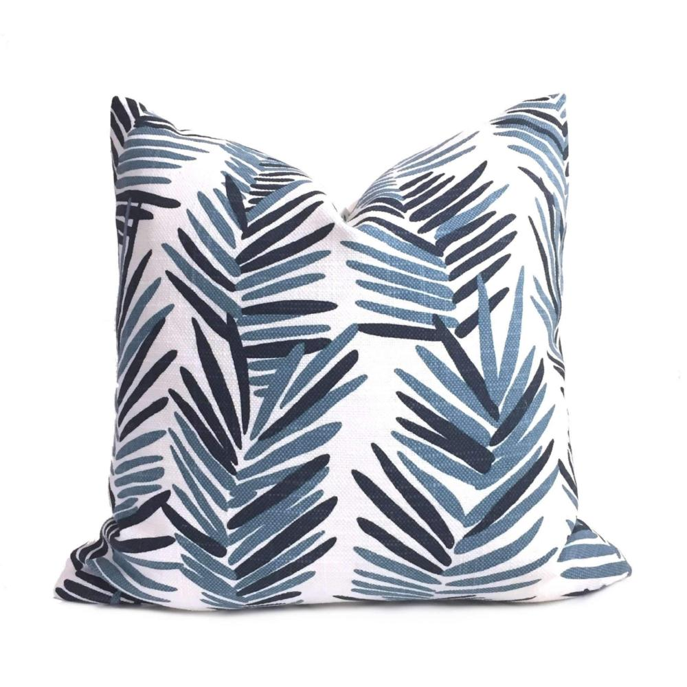 HC Monogram Lulu DK Riviera Blue White Pillow Cover Cushion Pillow Case Euro Sham 16x16 18x18 20x20 22x22 24x24 26x26 28x28 Lumbar Pillow 12x18 12x20 12x24 14x20 16x26 by Aloriam