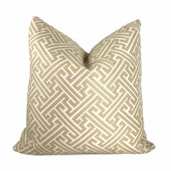 Beige Cream Greek Key Pillow Cover