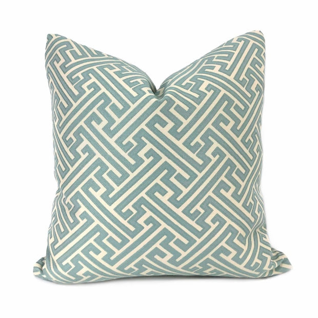 Greek Key Geometric Jacquard Spa Blue Cream Pillow Cover