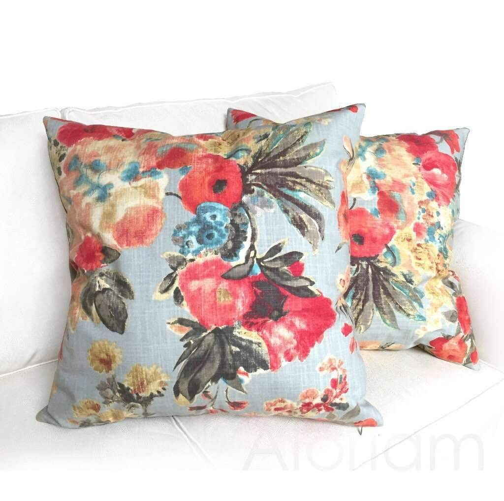 HGTV Garden Odyssey Fog Gray Pillow by Aloriam