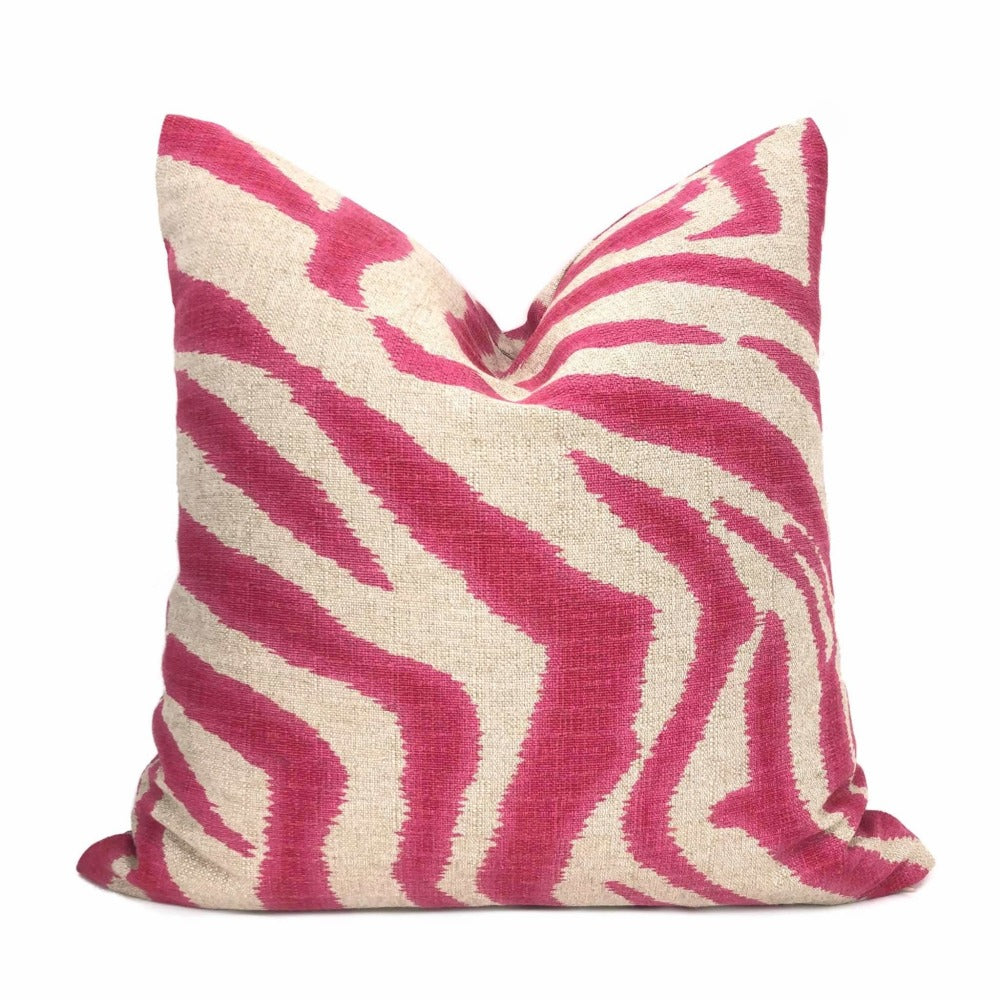 Hibiscus Pink Ikat Zebra Stripe Pillow Cover