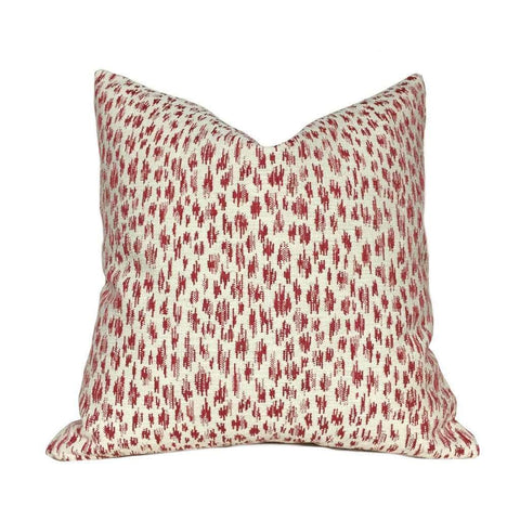 "Highland Court Monogram Leopold Poppy Red Ivory Modern Animal Spots Pillow Cover, Fits 12x20 12x24 14x20 16x26 16"" 18"" 20"" 22"" 24"" Cushions"