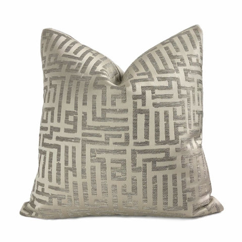 Holly Hunt Written in Code Pale Silver Driftwood Brown Abstract Maze Pillow Cover - Aloriam