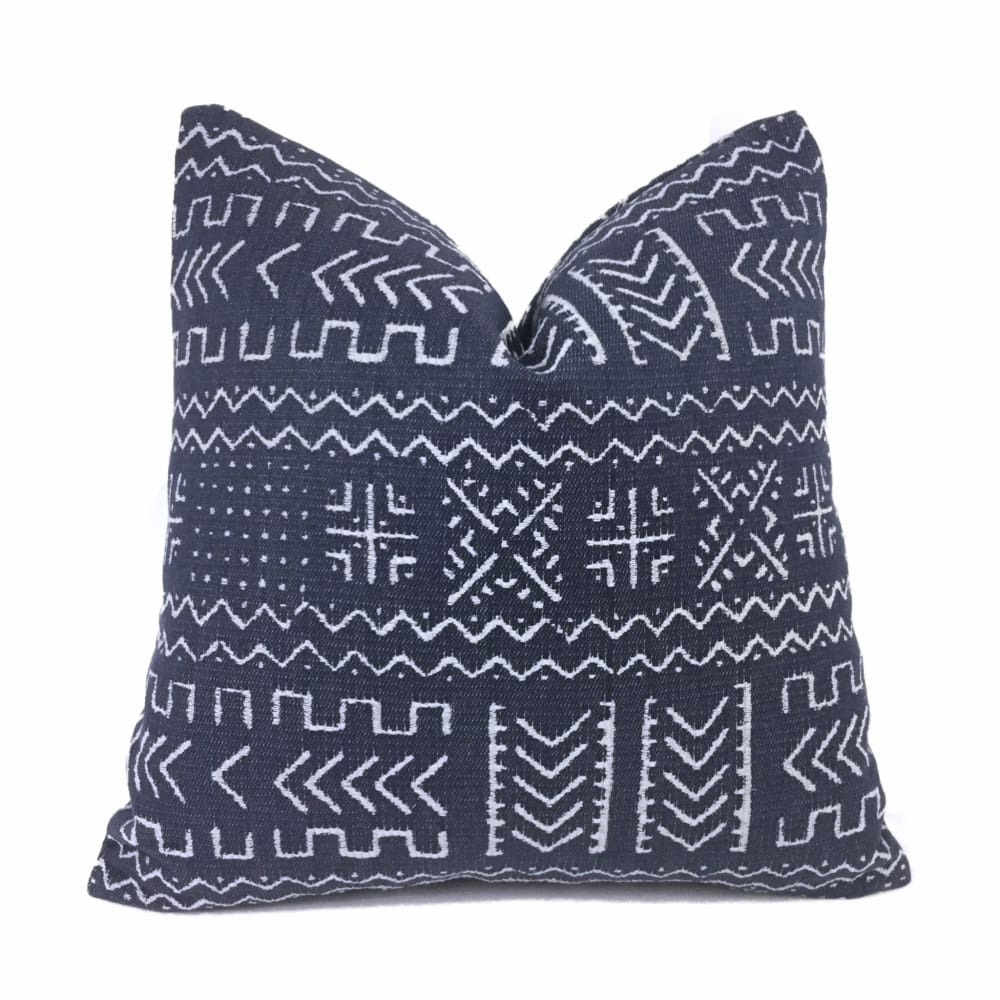 Hombori Mudcloth Inspired Blue African Tribal Pillow Cover - Aloriam