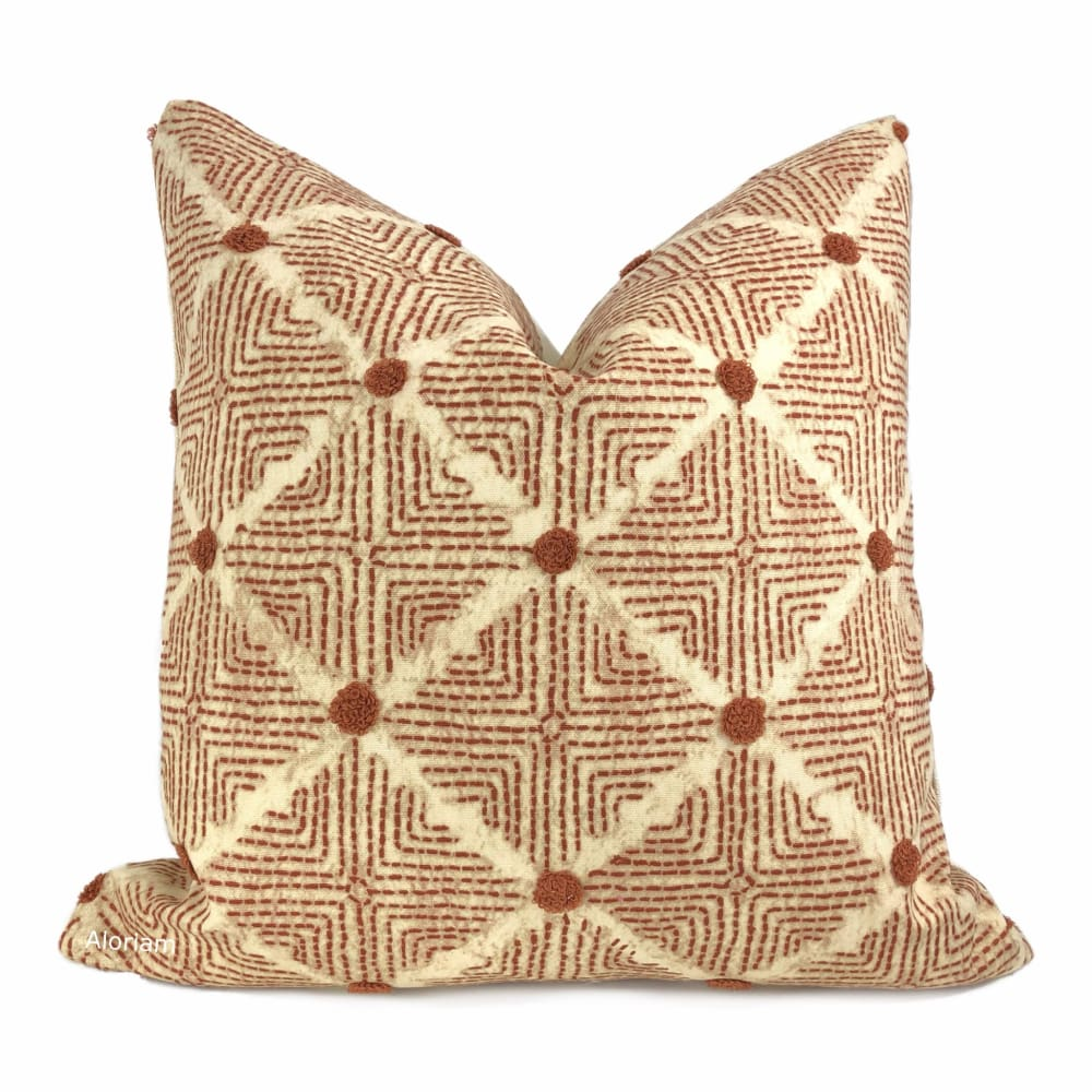 Hopi Rust & Ivory Embroidered Ethnic Diamond Pillow Cover - Aloriam