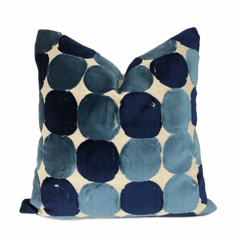 Hot Spot Admiral Blue Velvet Circles Pillow Cover - Aloriam