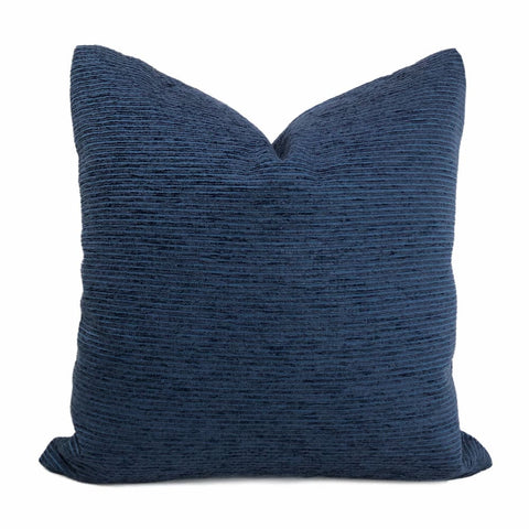 Hugo Two Tone Blue Ribbed Chenille Pillow Cover - Aloriam