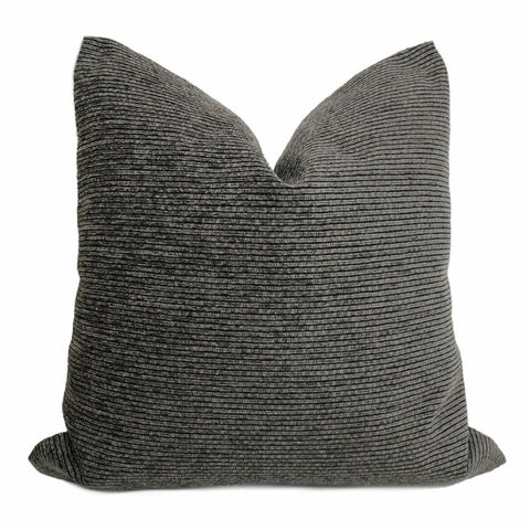 Hugo Two Tone Gray Ribbed Chenille Pillow Cover - Aloriam