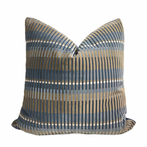 Humbolt Mid-Century Modern Blue Brown Velvet Stripe Pillow Cover - Aloriam