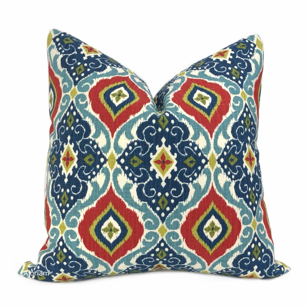 Idriss Blue Green Red Ethnic Tile Pillow Cover - Aloriam