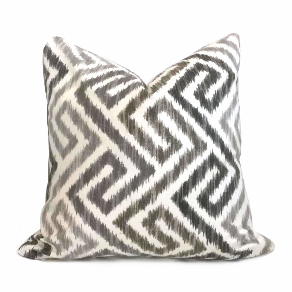 Ikat Geometric Maze Gray Brown White Cotton Print Pillow Cover