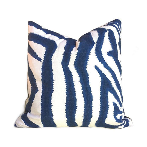 Ikat Zebra Large Blue White Animal Stripe Pillow Cover (Made from Lacefield Designs fabric) Cushion Pillow Case Euro Sham 16x16 18x18 20x20 22x22 24x24 26x26 28x28 Lumbar Pillow 12x18 12x20 12x24 14x20 16x26 by Aloriam