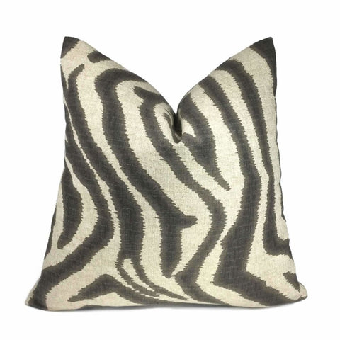 Lacefield Designs Ikat Zebra Steel Gray Tan Beige Animal Stripe Pillow Cover