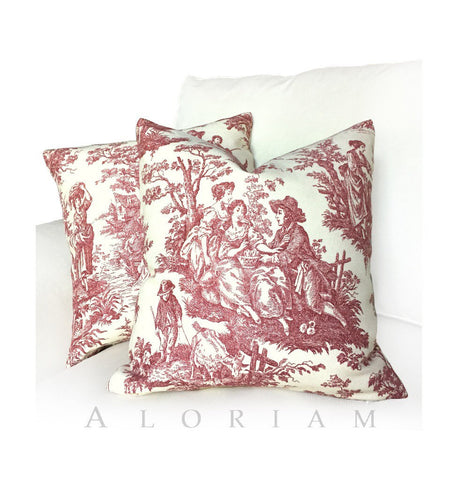 Waverly Country Life Toile Garnet Red Ivory Pillow Cushion Cover
