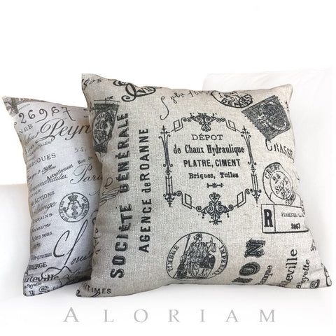 Vintage French Script Calligraphy Stamps Tan Brown Pillow Cushion Cover
