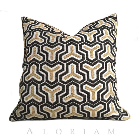 Wishbone Geometric Pattern Cream Beige Brown Chenille Pillow Cushion Cover