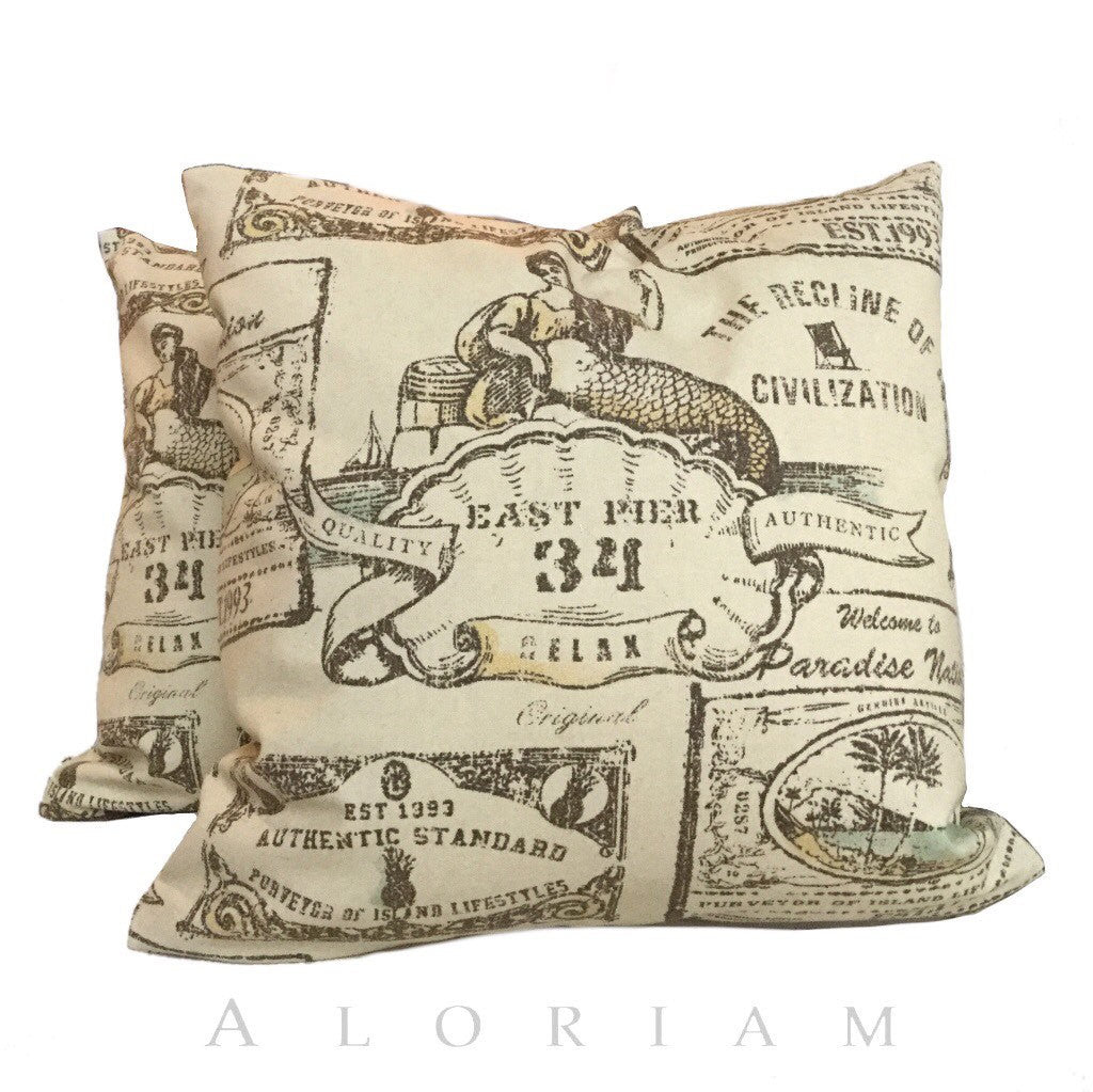 Tommy Bahama Mermaids Island Decor Sand Beige Tan Pillow Cushion Cover