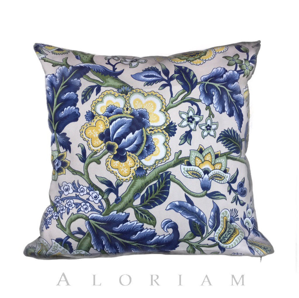 Waverly Imperial Dress Jacobean Floral Print Pillow Cushion by Aloriam