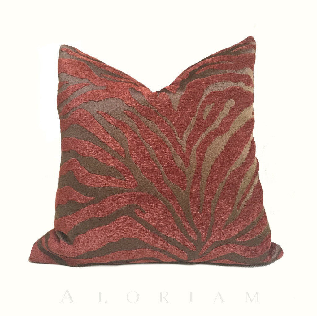 Two Tone Dark Brown Redwood Animal Stripe Pattern Upholstery Chenille Pillow Cover