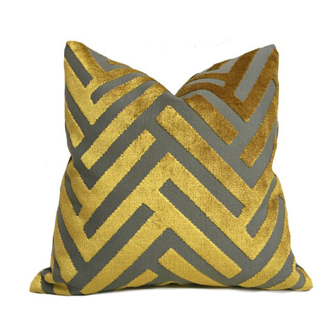 Euclid Gold Gray Chevron Velvet Pillow Cover