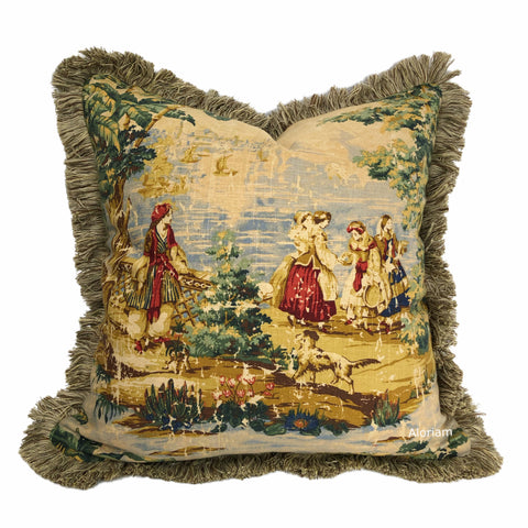 Bosporus Billiard Green Crimson Old World Scenic Landscape Toile Pillow Cover with Brush Fringe Trim